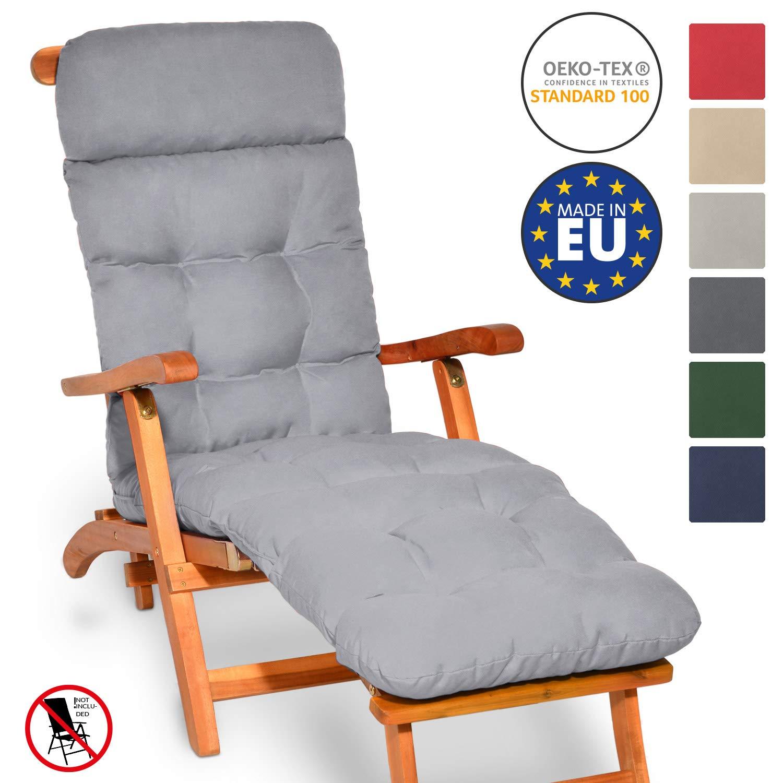 Beautissu Flair DC Cojín- colchoneta para Tumbona reclinable 200x50x8 cm con Relleno de gomaespuma - Gris Claro