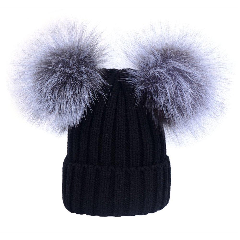 Women's Winter Knit Hat Beanie With Double Real Silver Fox Fur Pom Pom Warm Ski Snowboard Cap (Black)