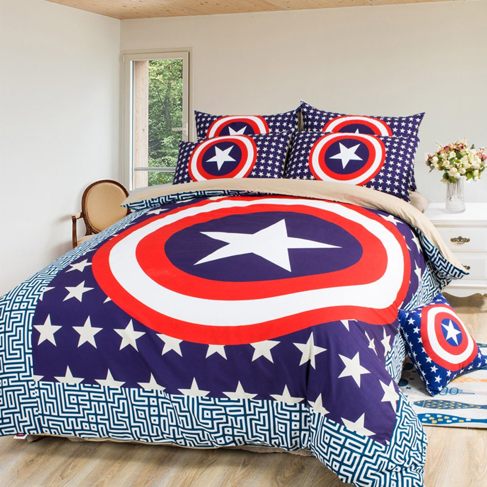 Sport do America Captain 100% Polyester Bedding Set,Famous Cartoon Character Kids/Students Duvet Cover Set, Upscale Soft Bedding Set(4-Piece,Queen) by Sport do