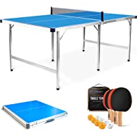 PRO SPIN Midsize Ping Pong Table   Foldable Indoor Outdoor Table   100% Pre-Assembled   Includes 4 Ping Pong Paddles, 8…