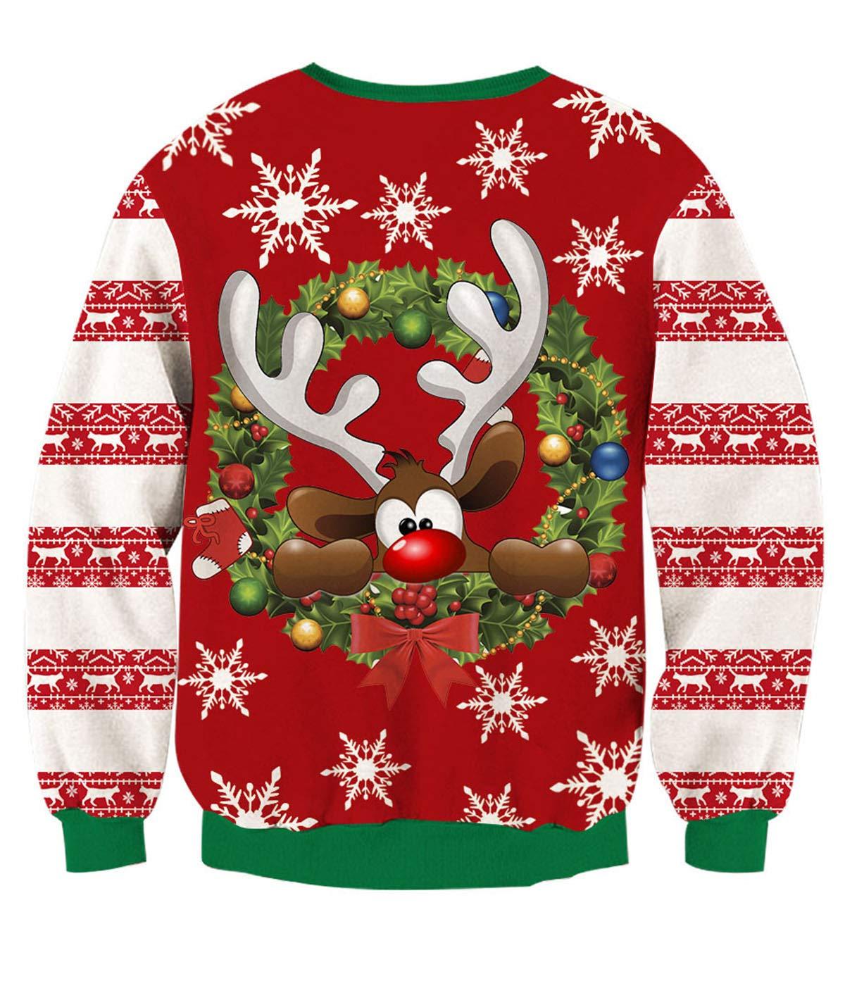 TUONROAD 3D Gedruckt Sternenhimmel Faultier Ugly Pullover Weihnachten Xmas Weihnachtspullover SüßIgkeit Socken Geschenk Retro HäSslich Weihnachten Pullover Rundhals Langarmshirt