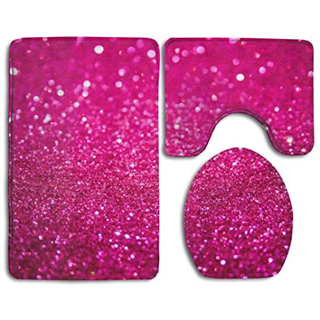 Brilliant Amazon Com Ding Pink Glitter Soft Comfort Flannel Bathroom Caraccident5 Cool Chair Designs And Ideas Caraccident5Info