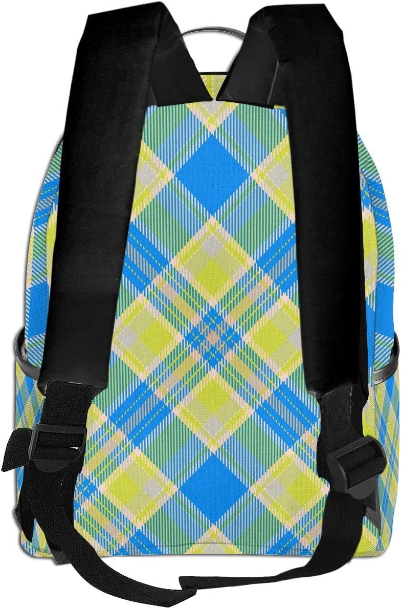 Scots Style Tartan Plaid Blue Green Multi-Functional College Bags Students High School Girls Casual Daypack Kids Travel Backpack School Laptop Bookbags Teens Boy Outdoor Accessories