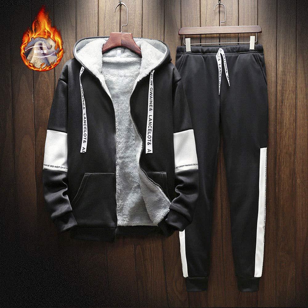 Men Bottom Fleece Hoodie Tracksuit Sport Jacket Coat Suit Set Trousers Zipper