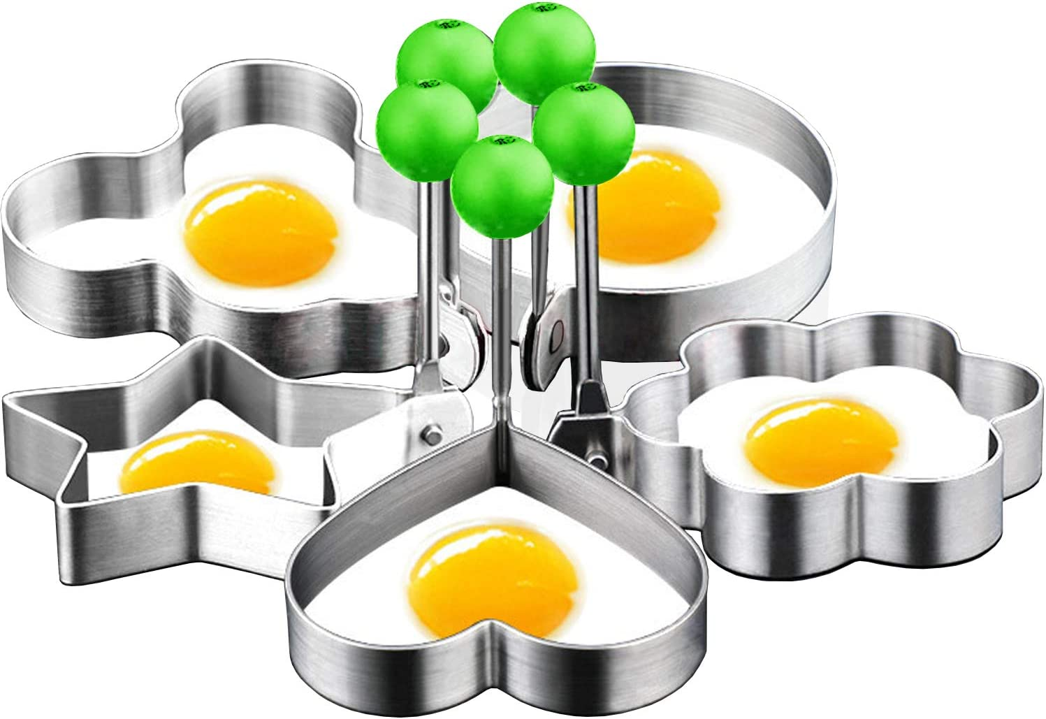 DYKL Eggs Rings for Frying Or Shaping Eggs,Food Grade Egg Cooking Rings,Stainless Steel Fried Egg Mold,Pancake Rings,Fried Egg Ring Mold (5Pack)