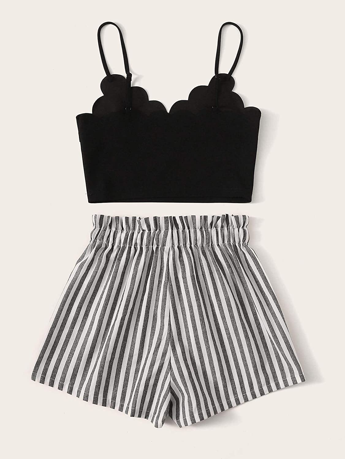 MakeMeChic Womens 2 Piece Outfit Summer Striped V Neck Crop Cami Top with Shorts