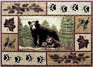 Masada Rugs, Cabin Lodge Area Rug Bear and Cub Scene (4 Feet X 5 Feet)