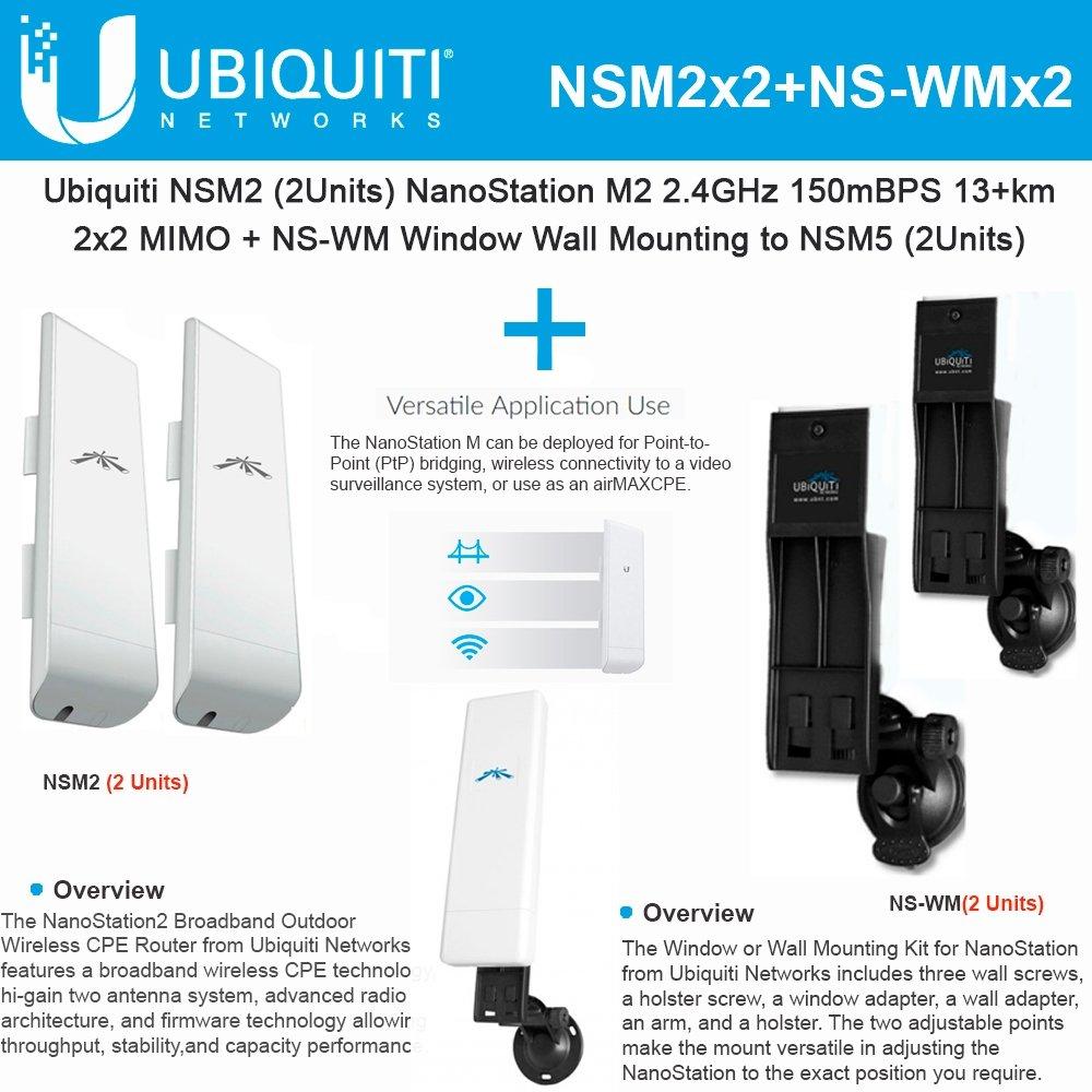 Ubiquiti NSM2 2pack NanoStation 2.4GHz 150Mbps +NS-WM 2pack Window Wall Mounting by Ubiquiti Networks