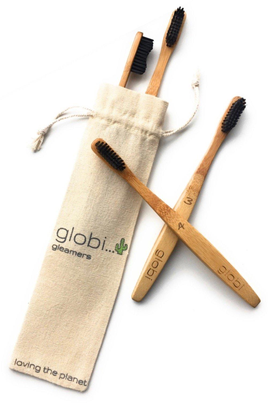Globi Cepillos de Dientes de Bambú Premium – Cepillo de Dientes Biodegradable, Ecológico y Diseño Ergonómico. Cerdas de Carbón de Leña. 4 Cepillos de ...
