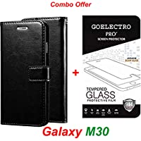 Goelectro Samsung Galaxy M30 / Galaxy M30 (Combo Offer) Leather Dairy Flip Case Stand with Magnetic Closure & Card Holder Cover + Tempered Glass Full Screen Protection (Clear) (Black)