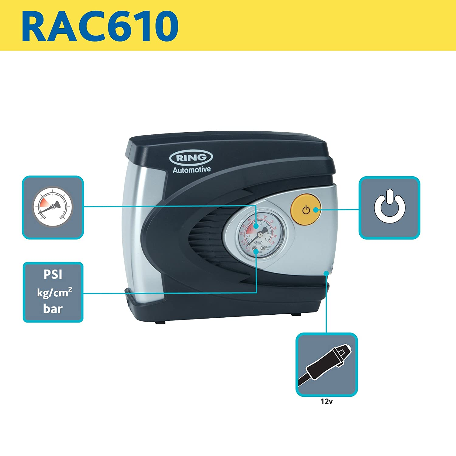 Ring RAC610 Analogue Tyre Inflator, 12V Air Compressor Tyre Pump ...