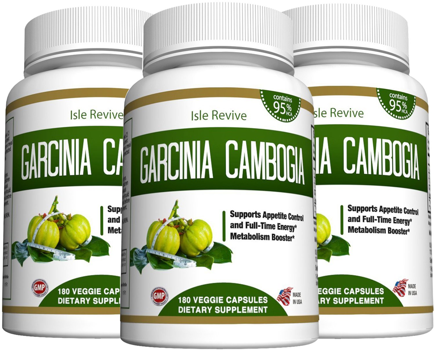 Garcinia Cambogia Weight Loss Supplement - Carb Blocker 95% HCA Pure Extract Fat Burner Diet Pills Appetite Suppressant Energy Booster for Health and Wellness Made in the USA, 3 Bottles 180 Capsules