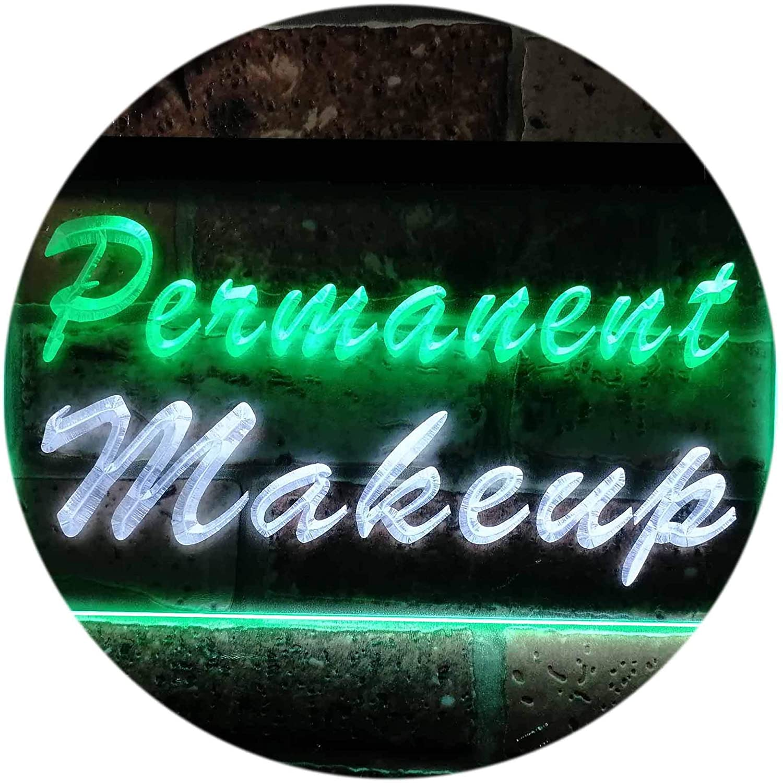 "ADVPRO Permanent Makeup Beauty Salon Dual Color LED Neon Sign White & Green 24"" x 16"" st6s64-m0037-wg"