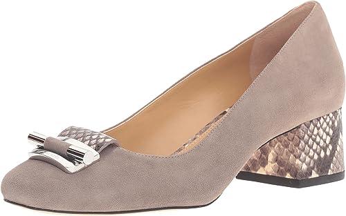 d4df8e1949d7 MICHAEL Michael Kors Women s Gloria Mid Pump Pearl Grey Kid Suede Embossed  Printed Snake Shoe