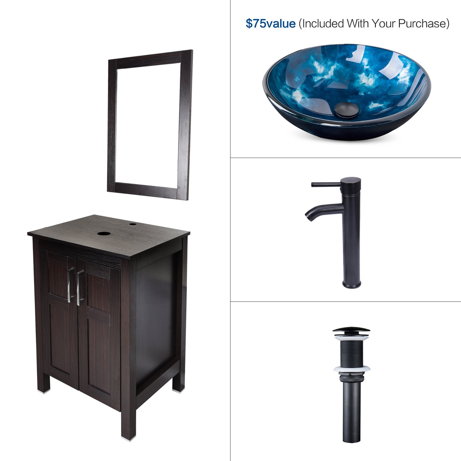 Elecwish USBA20090+USBA20077 Bathroom Vanity and Sink Combo, Stand Cabinet and Tempered Blue Glass Vessel Sink, Orb Faucet and Pop Up Drain, Mirror, Mounting Ring