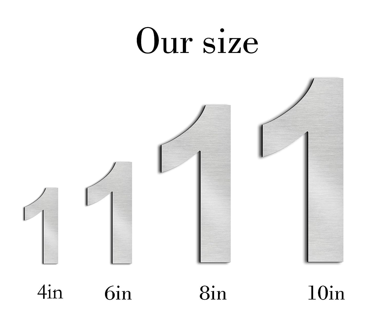 Schwimmendes Aussehen nanly Moderne Hausnummer aus massivem hergestellt 304-GRO/ß 15.3 Zentimeter //6 Zoll Einfache Installation(Ziffer 3) Geb/ürsteter Edelstahl