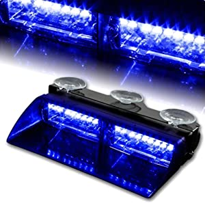WoneNice 16 LED High Intensity LED Law Enforcement Emergency Hazard Warning Strobe Lights 18 Modes for Interior Roof/Dash/Windshield with Suction Cups (Blue)