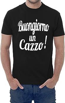 Fermento Italia T-shirt uomo divertente BUONGIORNO UN C***O - maglietta umoristica 100% cotone JHK
