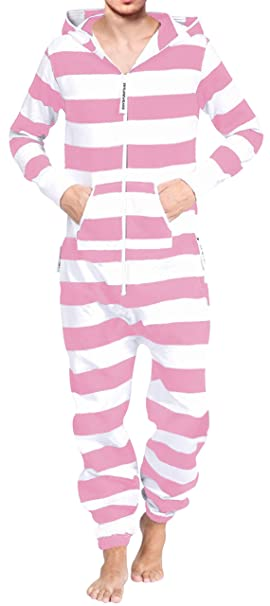 0763561b72cd Adult Hooded Onesie Fashion Pink White Stripes Men Women Teens Sizes Buy  Online Fast Shipping