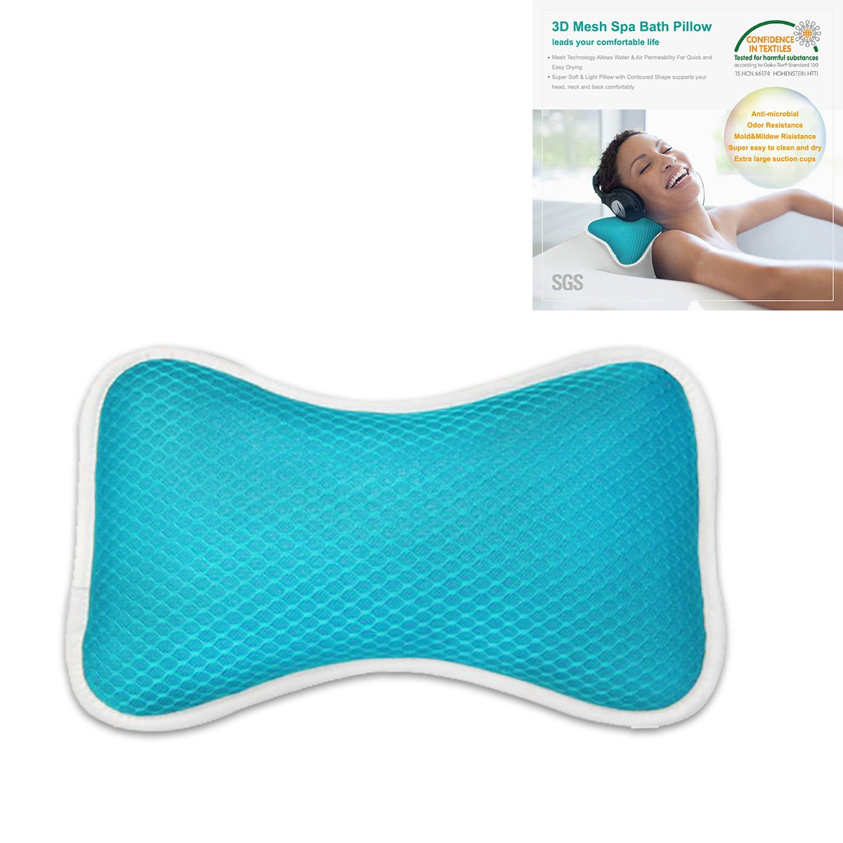 Amazon.com : Non-Slip Bath Pillow with Suction Cups, Supports Neck ...
