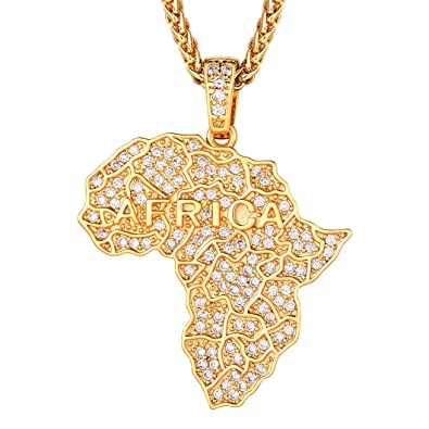 18K Gold Plated, Iced Out Map Of Africa Pendant Necklace, & Wheat