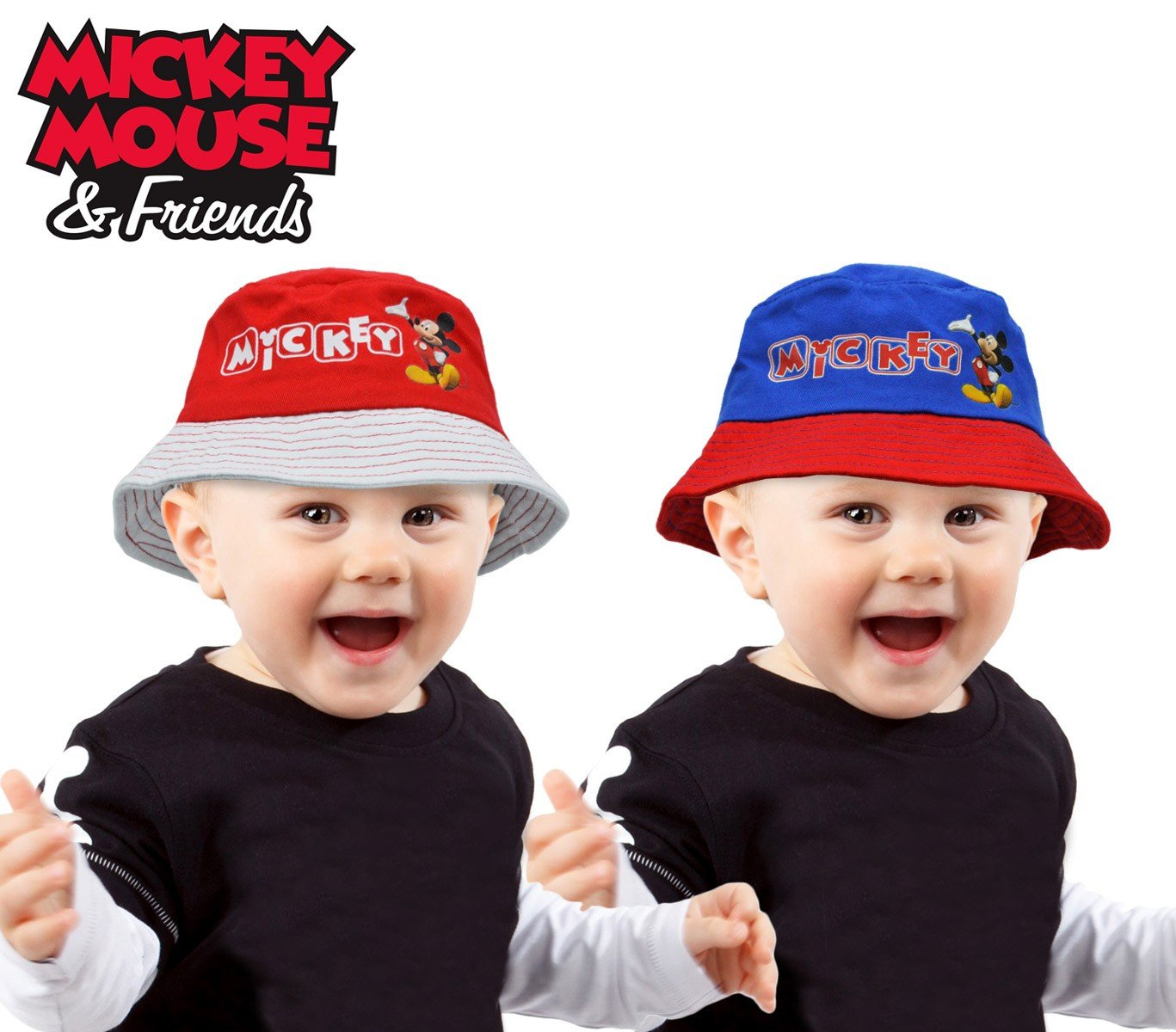 305875 Sombrero infantil tipo pescador con diseño MICKEY MOUSE - Azul, 50 cm
