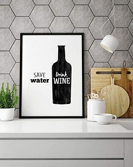 Toll2452 Save Water Drink Wine Quote Wall Art Amazon De Home Kitchen