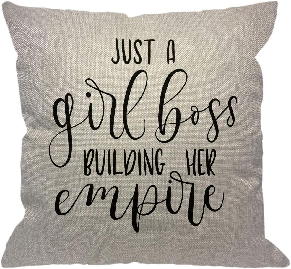 Amazon Com Hgod Designs Quote Throw Pillow Cover Just A Girl Boss Building Her Empire Inspirational Phrase Modern Feminism Quote Decorative Pillow Cases Cotton Linen Cushion Cover For Home Sofa Couch 18x18 Inch Home
