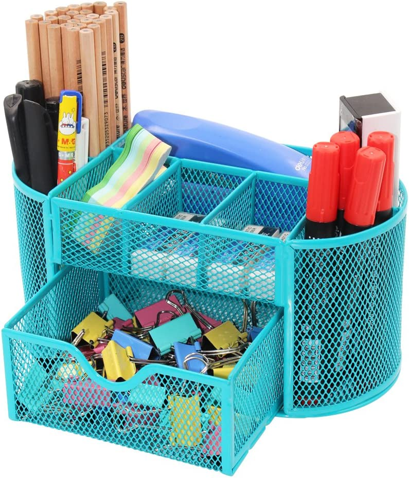 PAG Office Supplies Mesh Desk Organizer Pen Holder Accessories Storage Caddy with Drawer, 9 Compartments, Blue
