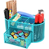 PAG Office Supplies Mesh Desk Organizer Desktop Pencil Holder Accessories Caddy with Drawer, 9 Compartments, Blue