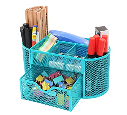 PAG Office Supplies Mesh Desk Organizer Pen Holder Accessories Storage  Caddy With Drawer, 9 Compartments