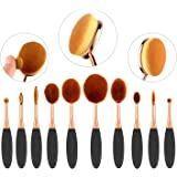 Nestling®10 Pieces Professional Oval Makeup Brush Set Foundation Concealer Blending Blush Liquid Powder Cream Cosmetics Brushes,Toothbrush Curve Makeup Tools for Face and Eyes