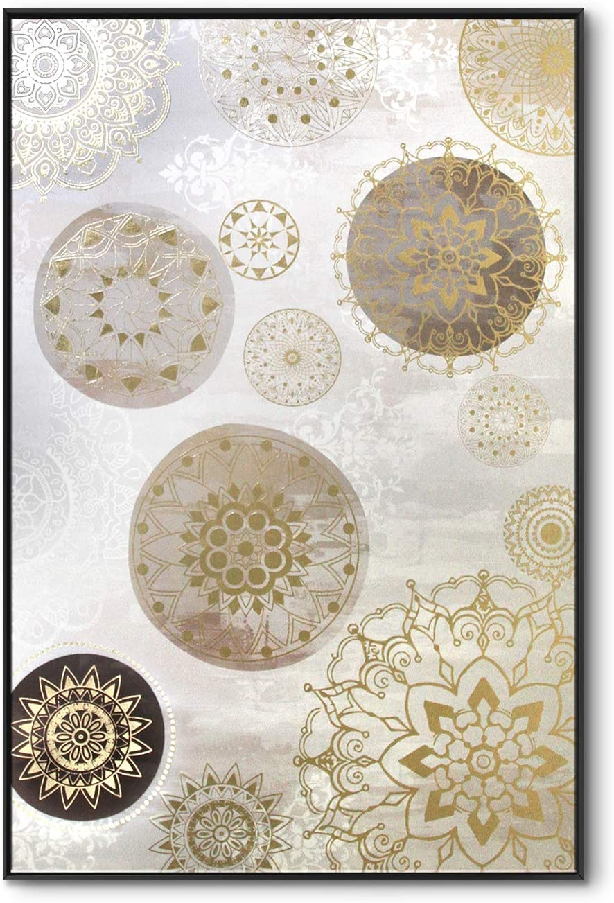 lamplig Mandala Wall Art Gray Gold Large Boho Wall Decor Hand Painted Oil Paintings Framed Bohemian Canvas Prints Indian Flowers Pictures Floral Artwork