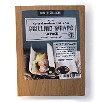 """Wood Fire Grilling Co. Cedar Grilling Wraps   50 Pack (6""""X8"""")   Perfect Fish, Chicken, Seafood, Veggies More by Wood Fire Grilling Co."""