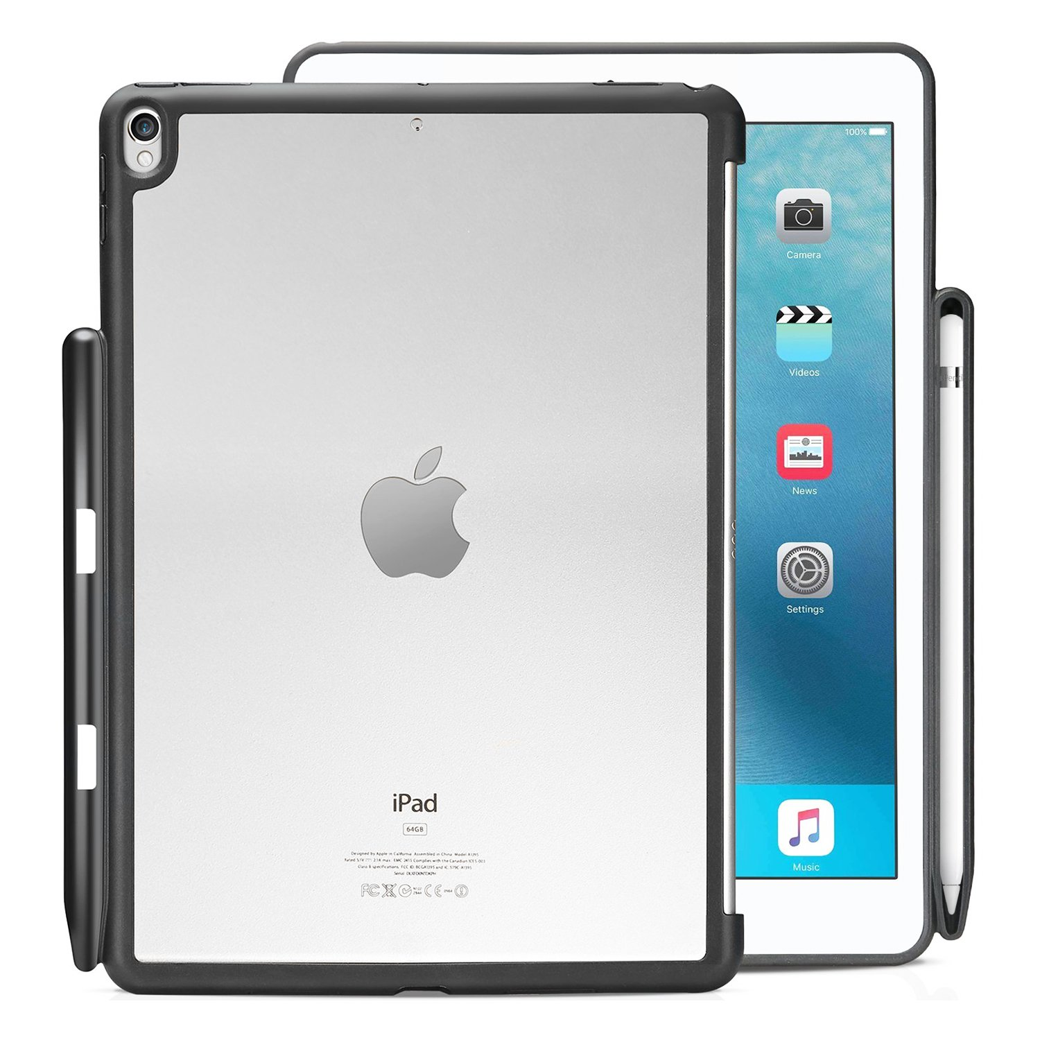 KHOMO - iPad Pro 10.5 Inch Hybrid Clear Case With Pen Holder - Companion Cover - Perfect match for Apple Smart keyboard and Cover