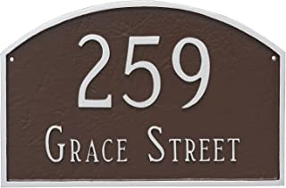 "product image for Montague Metal 10.25"" x 15.5"" Prestige Arch Two Line Address Sign Plaque, Standard, Brick Red/Gold"