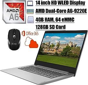 2020 Newest Lenovo IdeaPad 14 Laptop Computer 14 inch HD WLED Display AMD A6-9220e Processor 4GB DDR4 64GB eMMC + 128GB SD Card Office365Personal WiFi HDMI Webcam Win10 + iCarpWirelessMouse