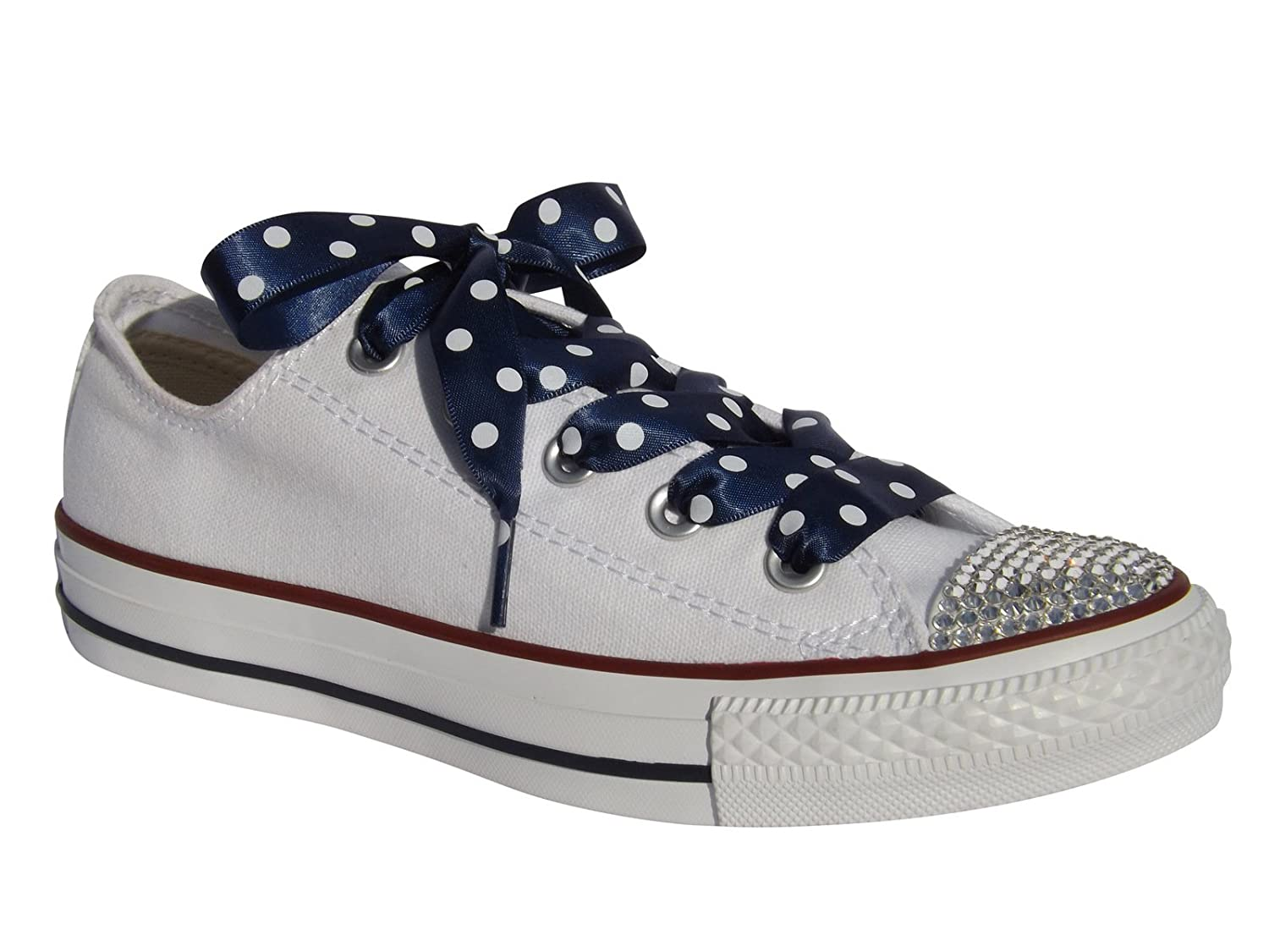 acba2000c5e3f6 Amazon.com  Navy Polka Flat Satin Ribbon Shoelaces
