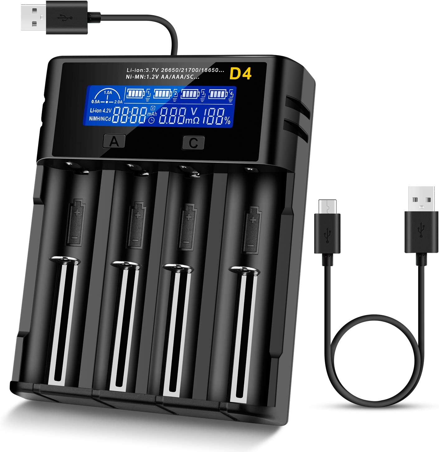 Universal Battery Charger 4 x 2400mah 3.7v Li-ion 16340 Rechargeable Battery