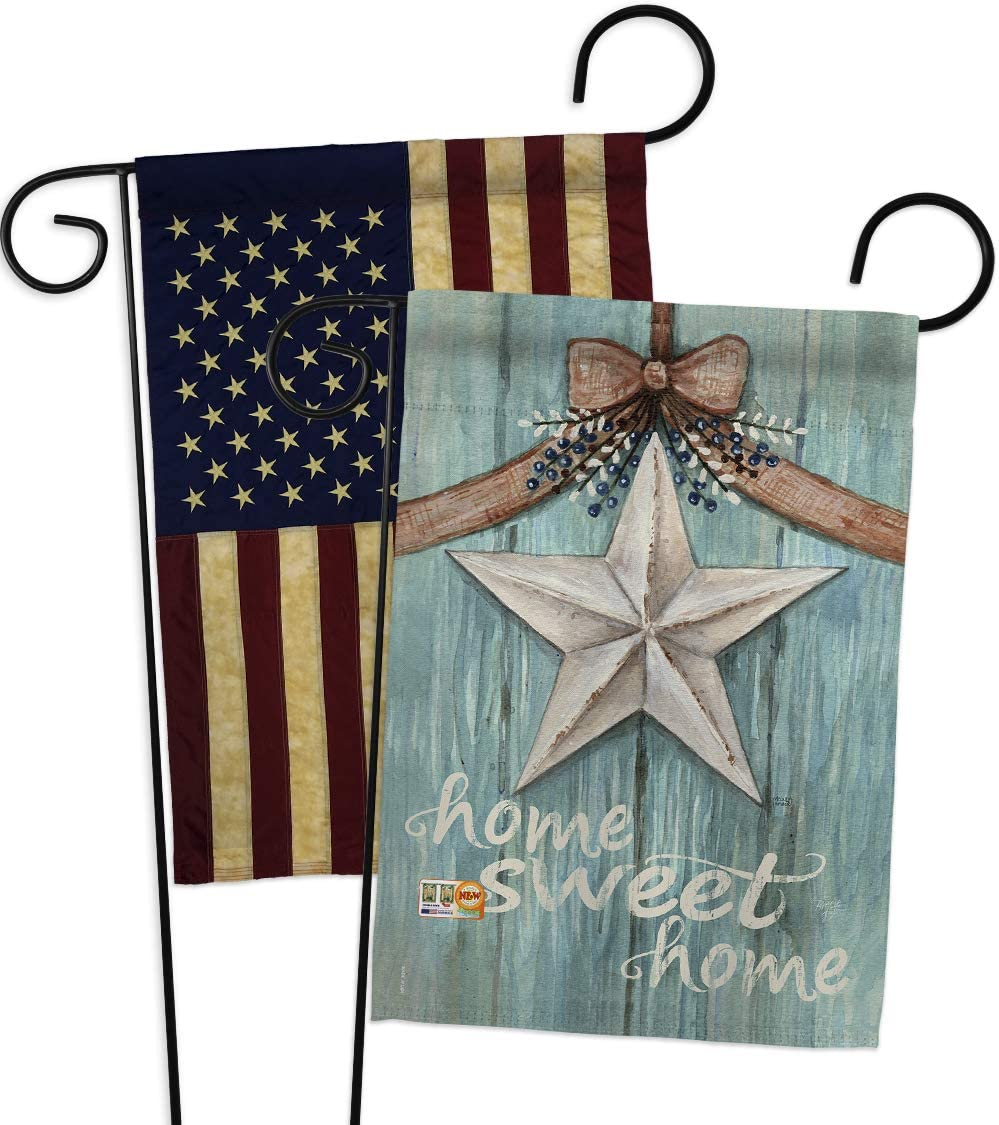 Breeze Decor Primitive Welcome White Barn Star Garden Flags Pack Country Living Farm Western American Rustic Cowboy Rural Ranch USA Vintage Applique Small Gift Yard House Banner US Made 13 X 18.5