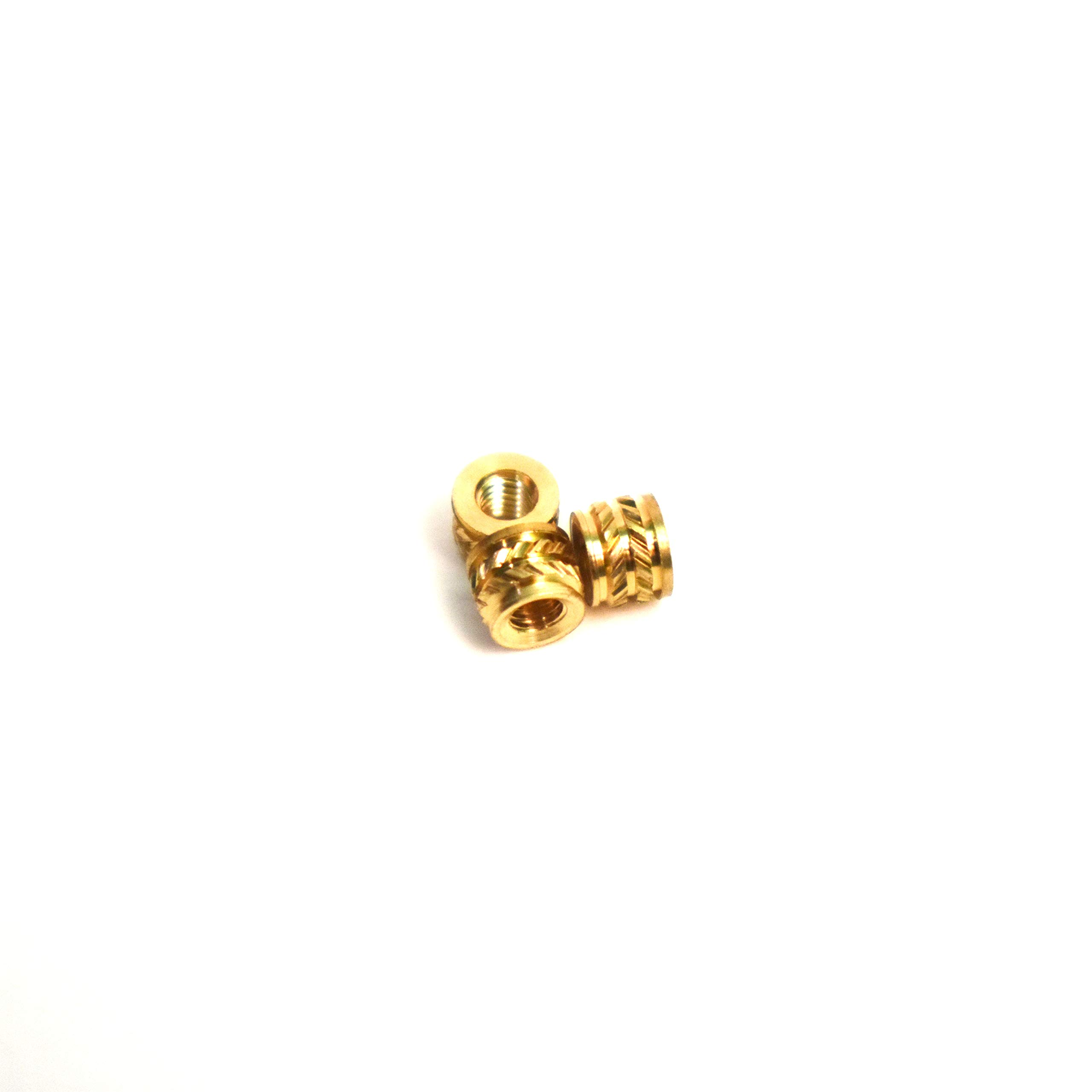 [ J&J Products, Inc ] M2.5 Brass Insert 100pcs,4.5mm OD, 3.4mm Length, Female M2.5 Thread, Press Fitting or Heat Sink or Injection Molding Type, 100 pcs by J&J Products, Inc