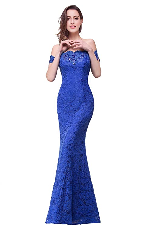 Babyonline Sparkly Crystal Off Shoulder Long Mermaid Lace Evening Party Dresses: Amazon.co.uk: Clothing