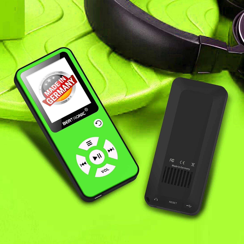 pod/ómetro Altavoz Ampliable a hasta 128 GB con Tarjeta de Memoria microSD 16 GB 100 Horas de reproducci/ón de Audio BERTRONIC Made in Germany Reproductor de MP3 BC01