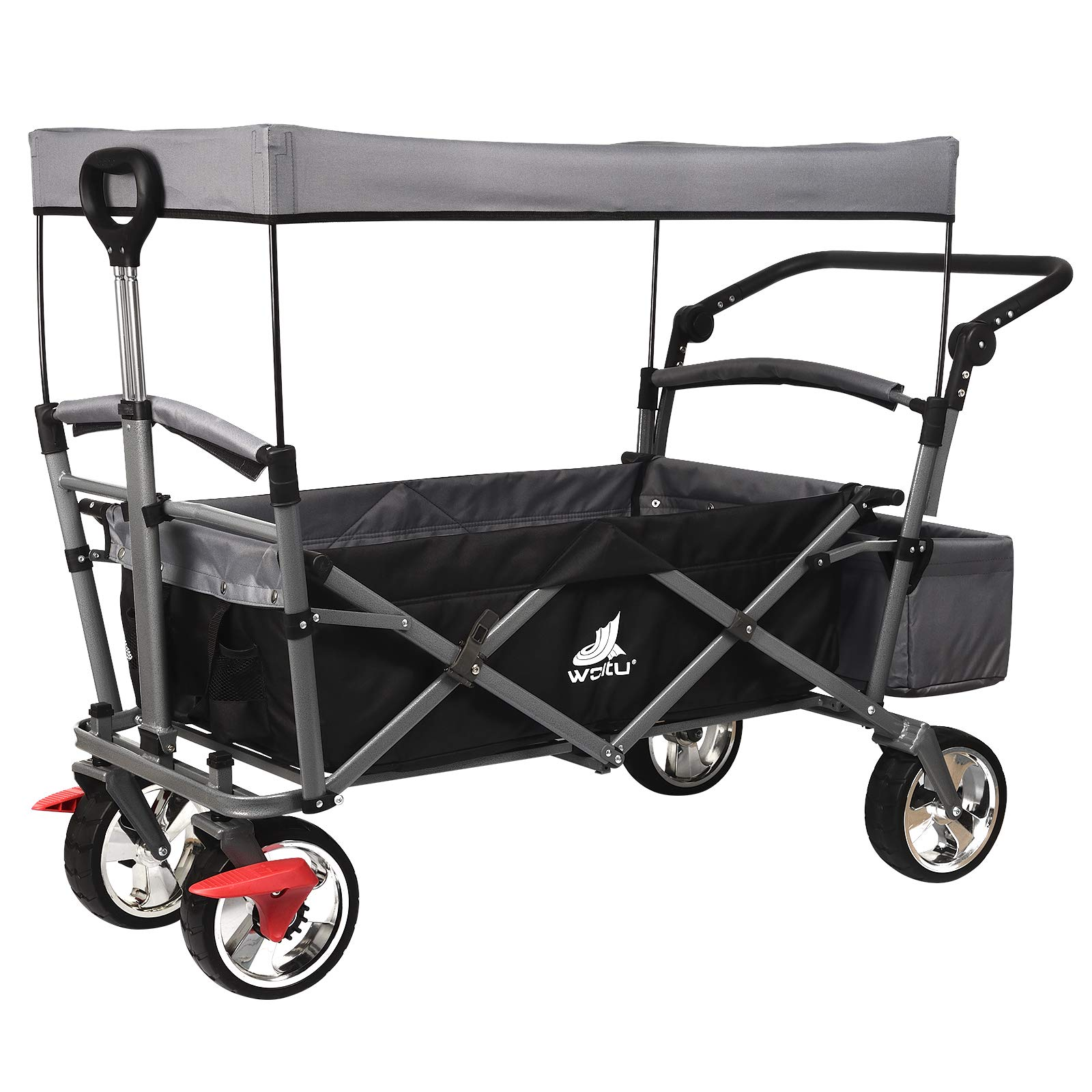 WOLTU Garden Cart with Roof, 4 Wheels with Brake, Folding Pull Wagon Handcart Trolley, Collapsible Portable Festival Camping Garden Transport Cart, Anthracite, TW004ang