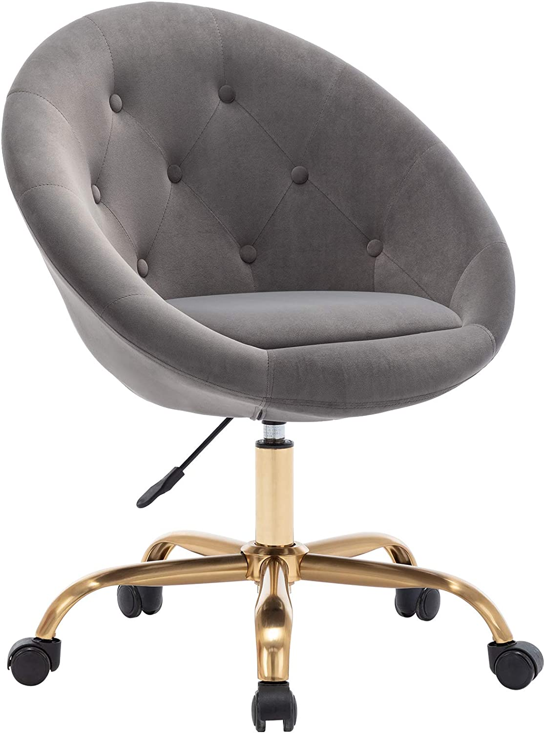 Duhome Modern Home Office Chair Desk Chair Task Computer Chair with Wheels Swivel Chair Vanity Chair Makeup Chair Height Adjustable Chairs Velvet Button Tufted with Wheels and Gold Metal Base (Grey)