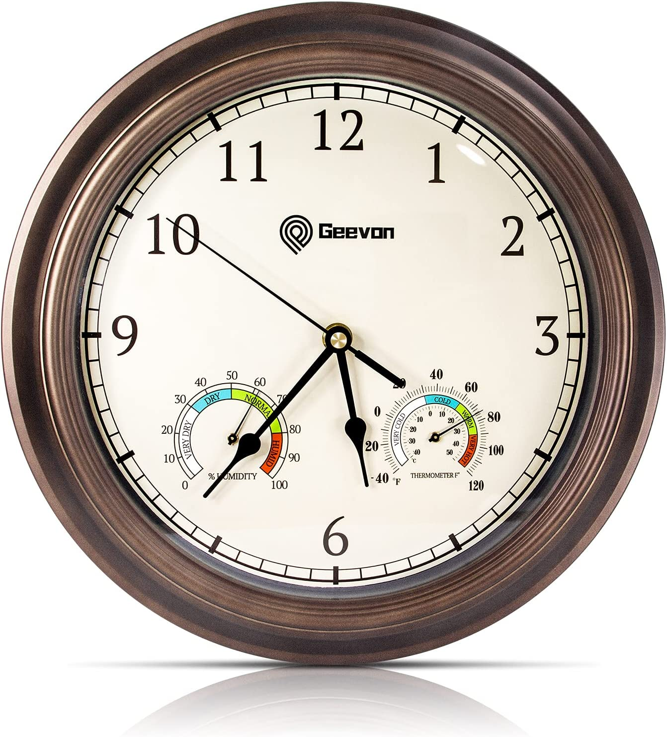 GEEVON Wall Clock Non Ticking 12 Inch with Thermometer and Hygrometer,Battery Operated Quartz Decorative Large Wall Clocks for Home,Living Room,Office,Classroom,Kitchen,Bedroom Wall Decor