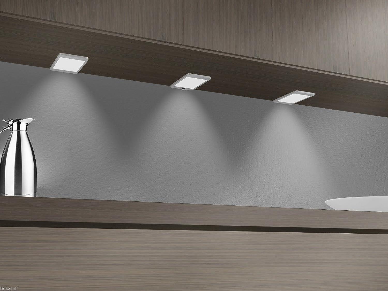 LED Unterbauleuchte 6Watt SET Sensor Küchenleuchte Einbauspot Einbaustrahler, Setgröße 4er SET, Lichtfarbe neutralweiß, Auswahl ohne Sensor