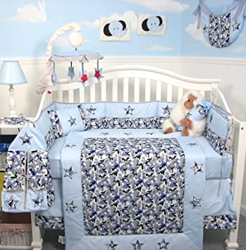SoHo Modern Blue Camouflage Baby Crib Nursery Bedding Set 13 Pcs Included  Diaper Bag With Changing