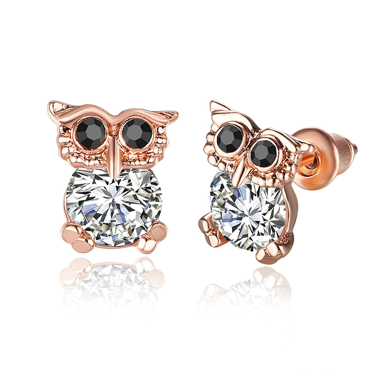 AmDxD Jewelry Rose Gold Plated Stud Earrings for Women Rose Gold Night Owl 8X9MM
