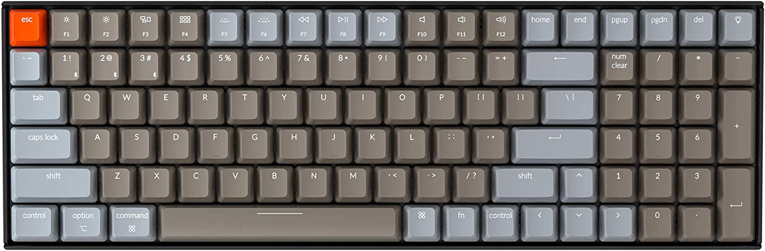 Keychron K4 Mechanical Keyboard, Wireless Mechanical Keyboard with White LED Backlight/Gateron Red Switch/Wired USB C / 96% Layout, Bluetooth Gaming Keyboard for Mac Windows PC Gamer